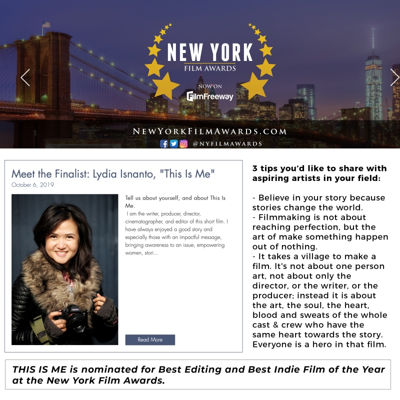 New York Film Awards Interview Lydia isnanto